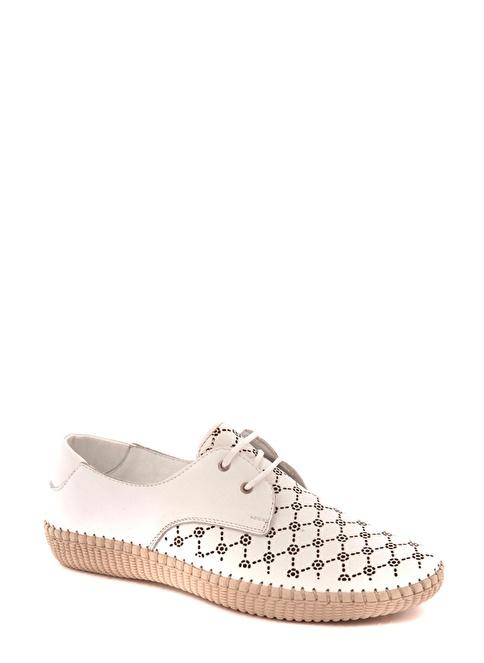 Beta Hakiki Deri Bağcıklı Ayakkabı Beyaz